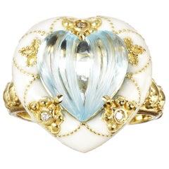 Stambolian Blue Topaz and White Enamel Heart Ring Yellow Gold