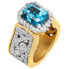 Stambolian 6.67 Carat Blue Zircon 18K Two-Tone Gold and Diamond Cocktail Ring
