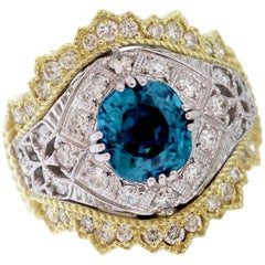 Stambolian Blue Zircon Two-Tone Gold and Diamond Cocktail Ring