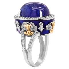 Stambolian Cabochon Tanzanite Cobalt Blue Enamel Diamond 18K Gold Cocktail Ring