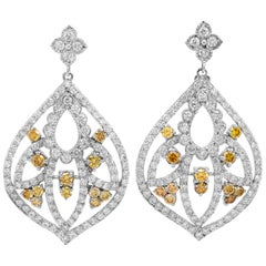 Stambolian Canary Yellow and White Diamond 18 Karat Gold Chandelier Earrings