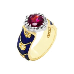 Stambolian Cobalt Blue Enamel Ring with Magenta Garnet Center and Diamonds