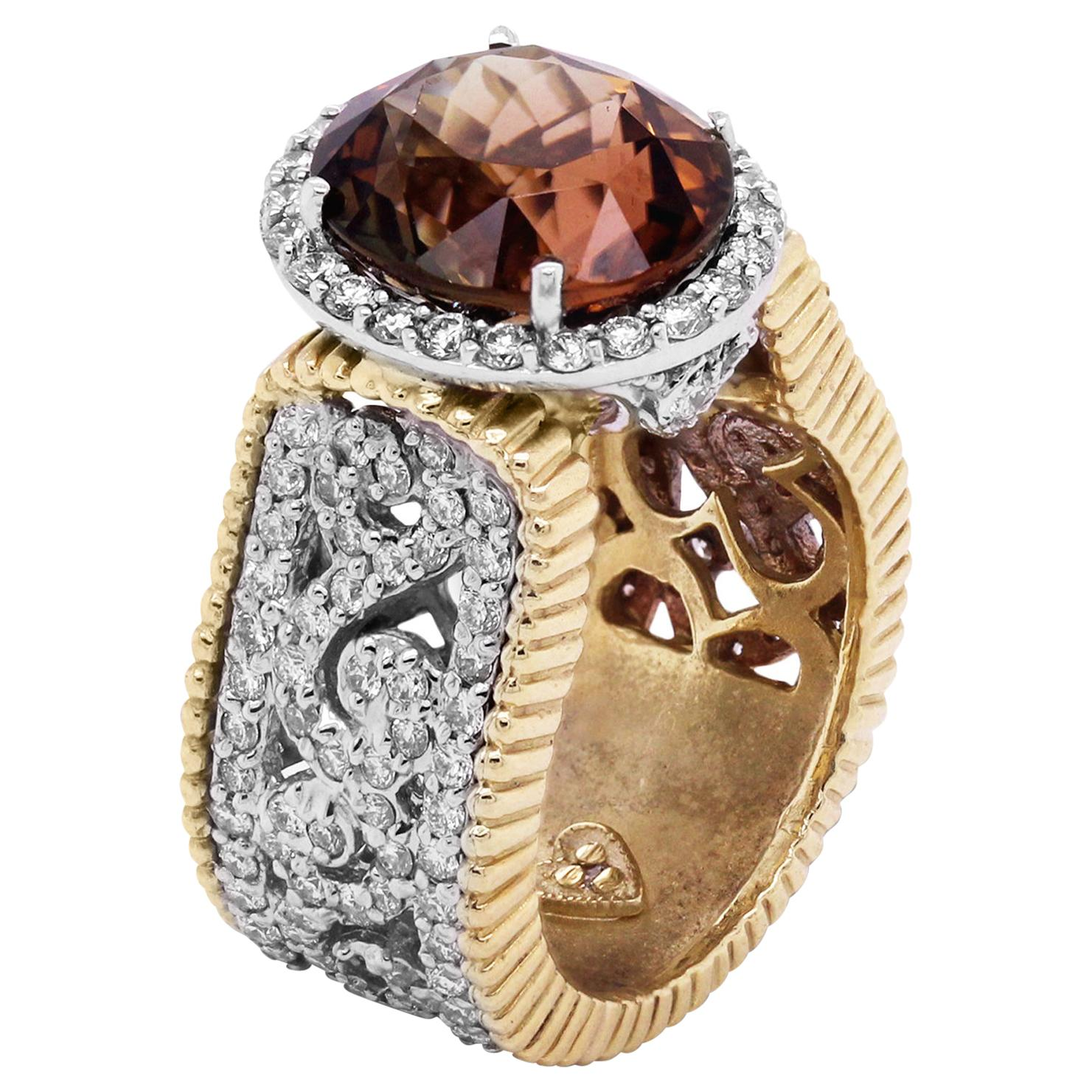 Stambolian Color Changing Tournaline and Diamond Two-Tone Gold Cocktail Ring
