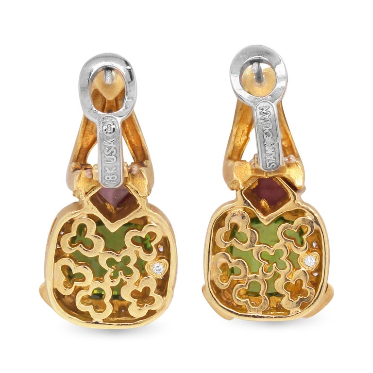 Contemporary Stambolian Cushion Cut Peridot Princess Cut Pink Sapphire Diamond Gold Earrings For Sale