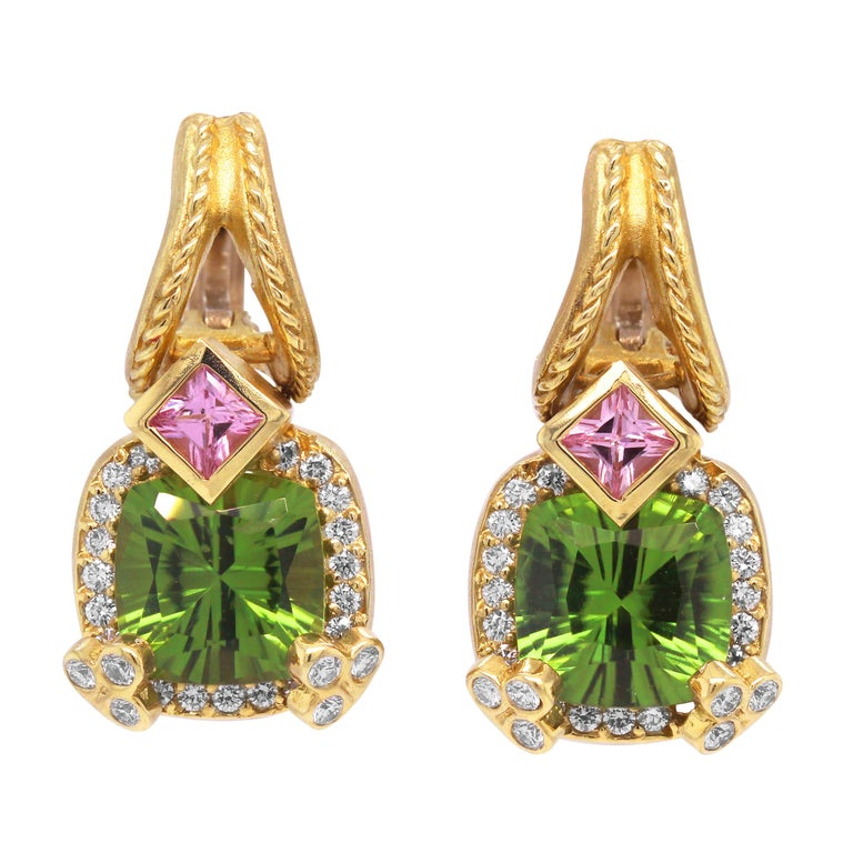 Stambolian Cushion Cut Peridot Princess Cut Pink Sapphire Diamond Gold Earrings In New Condition For Sale In Boca Raton, FL