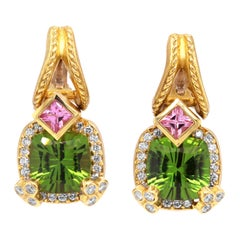 Stambolian Cushion Cut Peridot Princess Cut Pink Sapphire Diamond Gold Earrings