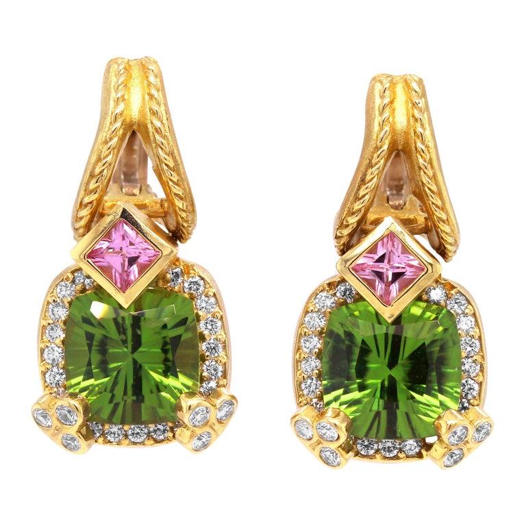 Stambolian Cushion Cut Peridot Princess Cut Pink Sapphire Diamond Gold Earrings For Sale