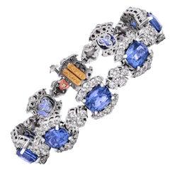 Stambolian GIA Cert Ceylon 21.79 Carat Blue Sapphires Diamonds 18K Gold Bracelet