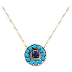 Stambolian Gold and Diamond Evil Eye Pendant with Turquoise and Blue Sapphire