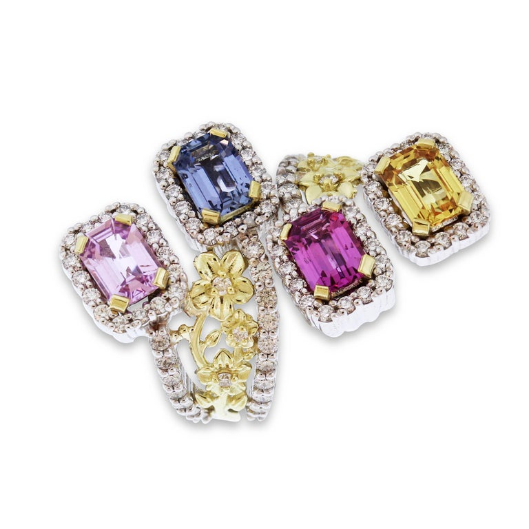 18K Yellow and White Gold Floral Ring with Multi-Color Sapphires and Diamonds  This one-of-a-kind piece by Stambolian showcases the true art, design and craftsmanship that goes behind each piece they design  Ring band is done in two-tone gold with