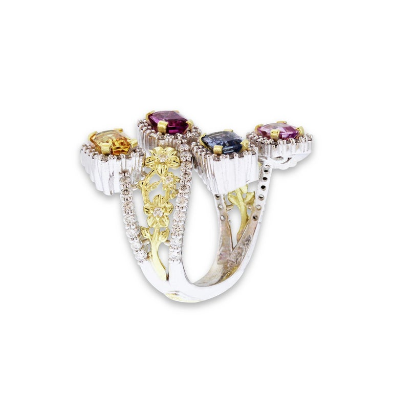 Stambolian Gold and Diamond Floral Ring with No Heat Multi-Color Sapphires In New Condition For Sale In Boca Raton, FL