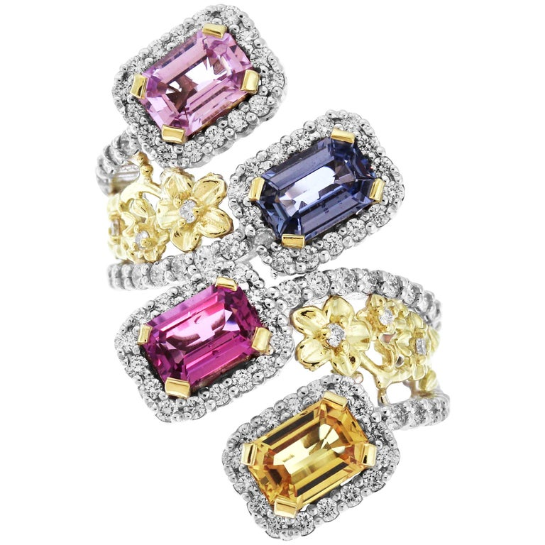 Stambolian Gold and Diamond Floral Ring with No Heat Multi-Color Sapphires For Sale