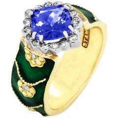 Stambolian Green Enamel Ring with Tanzanite Center and Diamonds