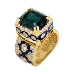 Stambolian Green Tourmaline 18K Yellow Gold Diamond Navy Blue Enamel Ring