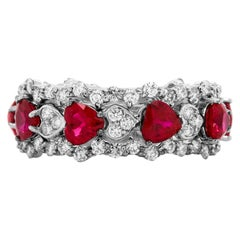 Stambolian Heart Shape Ruby Diamonds 18 Karat White Gold Band Ring