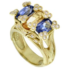 Stambolian Imperial Topaz and Blue Sapphire Ring with Diamonds