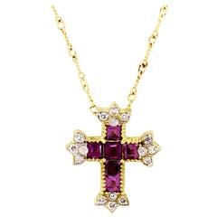Stambolian Magenta Garnet Diamond Yellow Gold Cross Pendant with Chain Necklace