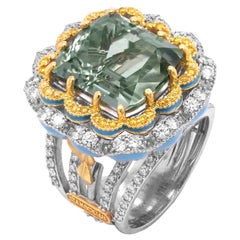 Stambolian Mint Green Tourmaline Yellow White Diamonds Blue Enamel 18K Gold Ring