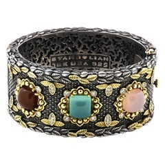 Stambolian Multi-Color Chalcedony Sterling Silver 18k Gold Diamond Cuff Bracelet