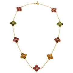 Stambolian Multi-Color Tourmaline and Diamond Gold Double Sided Cluster Necklace