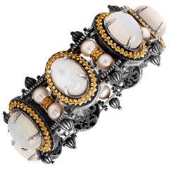Stambolian Oval Grey Moonstone Round Pearl Aged Silver 18K Gold Retro Bracelet