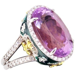 Stambolian Oval Kunzite with Diamond Halo and Green Enamel High Profile Ring