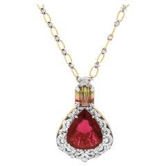 Stambolian Pearshape Rubelite Bi-Color Tourmaline 18K Gold Diamond Pendant Chain