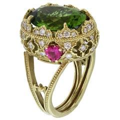 Stambolian Peridot and Heart Shape Pink Sapphire Yellow Gold and Diamond Ring
