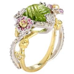 Stambolian Peridot Pink Sapphire and Diamond Rose Floral Ring