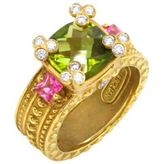 Stambolian Peridot Pink Sapphire Diamonds Yellow Gold Hearts Three-Stone Ring
