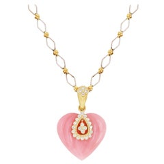 Stambolian Pink Peruvian Opal 18K Gold Diamond Heart Enhancer Pendant Necklace