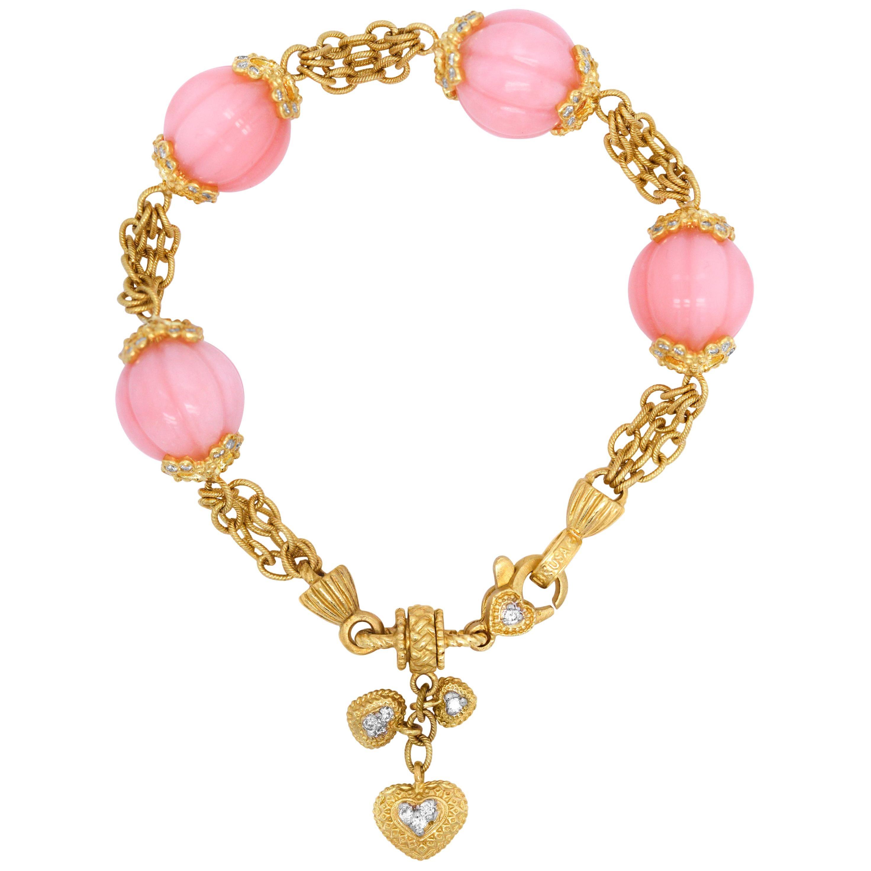 Stambolian Pink Peruvian Opal 18K Yellow Gold Diamond Charm Bracelet with Hearts