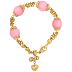 Stambolian Pink Peruvian Opal 18K Yellow Gold Diamond Charm Bracelet with Hearts