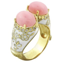 Stambolian Pink Peruvian Opal Yellow Gold and Diamond Ring with White Enamel