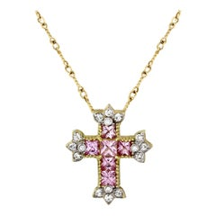 Stambolian Pink Sapphire Diamond Yellow Gold Cross Pendant with Chain Necklace