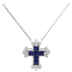 Stambolian Princess Cut Blue Sapphires Diamond 18 Karat White Gold Cross Pendant