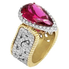 Stambolian Rubelite Two-Tone Gold and Diamond Cocktail Ring