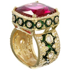 Stambolian Rubellite Tourmaline and Green Enamel Ring with Diamonds