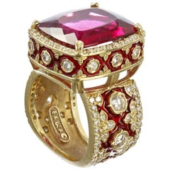 Stambolian Rubellite Tourmaline and Red Enamel Ring with Diamonds