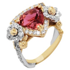 Stambolian Rubellite Tourmaline Two-Tone Gold and Diamond Rose Floral Ring