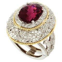 Stambolian Rubellite Tourmaline White Gold and Diamond Ring