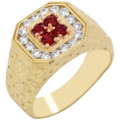 Stambolian Ruby and Diamond Yellow Gold Mens Ring
