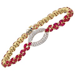 Stambolian Ruby Bracelet with Oval Diamond Gold Center
