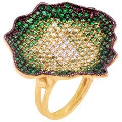 Stambolian Shaded Dark to Light Tsavorite Diamond 18 Karat Gold Cocktail Ring