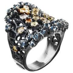 Stambolian Silver Gold and Multi-Color Diamond Aquamarine Ring