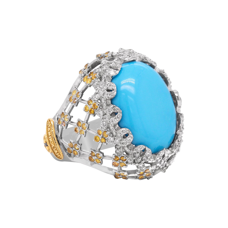 Stambolian Sleeping Beauty Turquoise Yellow White Diamond 18k Gold Dome Ring
