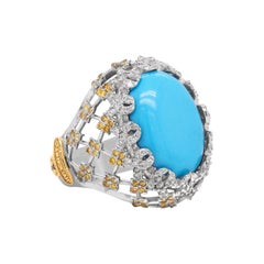 Stambolian Sleeping Beauty Turquoise Yellow White Diamond 18k Gold Dome Ring