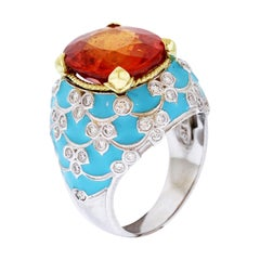 Stambolian Spessartine Garnet Baby Blue Enamel White Gold and Diamond Ring