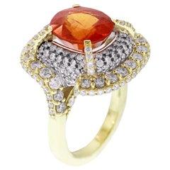 Stambolian Spessartite Garnet Gold and Diamond Cocktail Ring