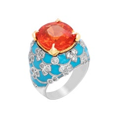 Stambolian Spessartite Garnet Baby Blue Enamel 18K White Gold Diamond Ring